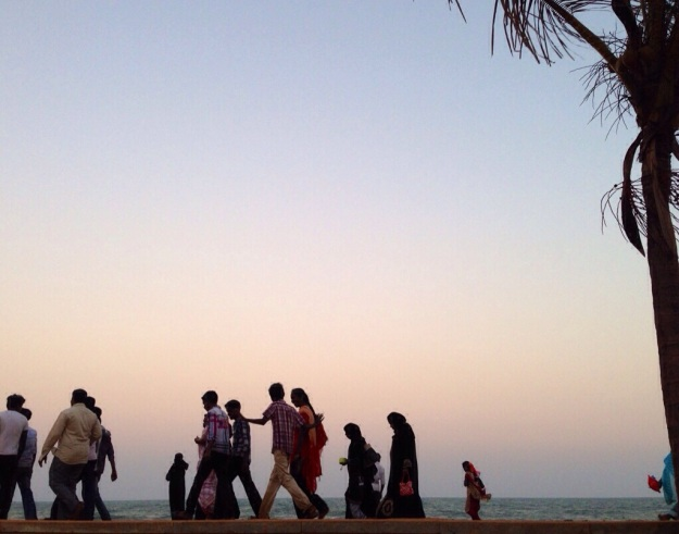 Pondicherry at sunset, New Year's Day, 2014